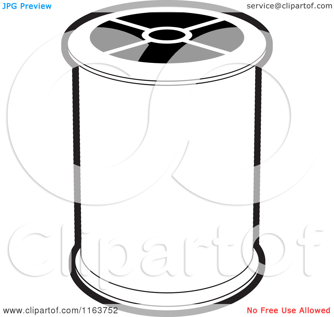 Clipart of a Black and White Spool of Sewing Thread.