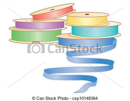 Clip Art Vector of Spools of Pastel Ribbons.