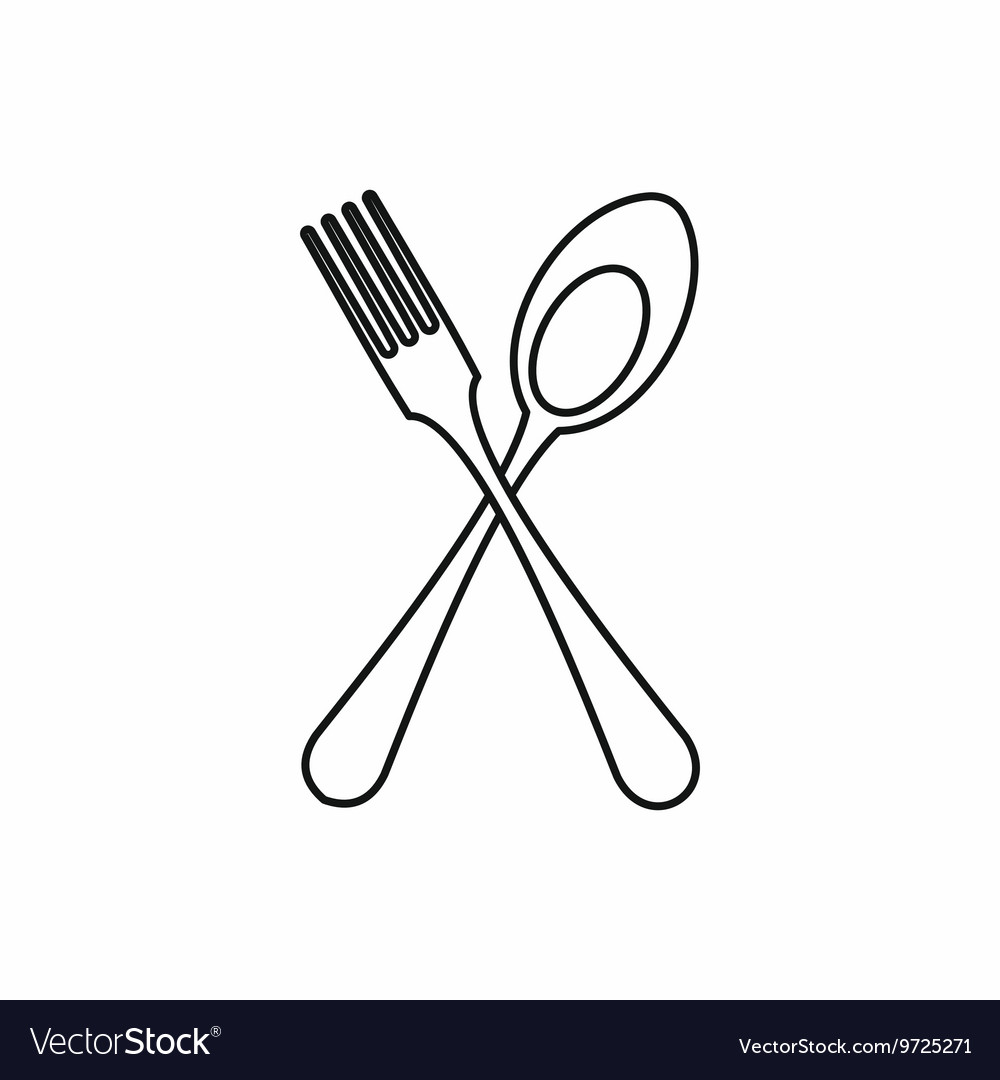 Spoon and fork icon outline style.