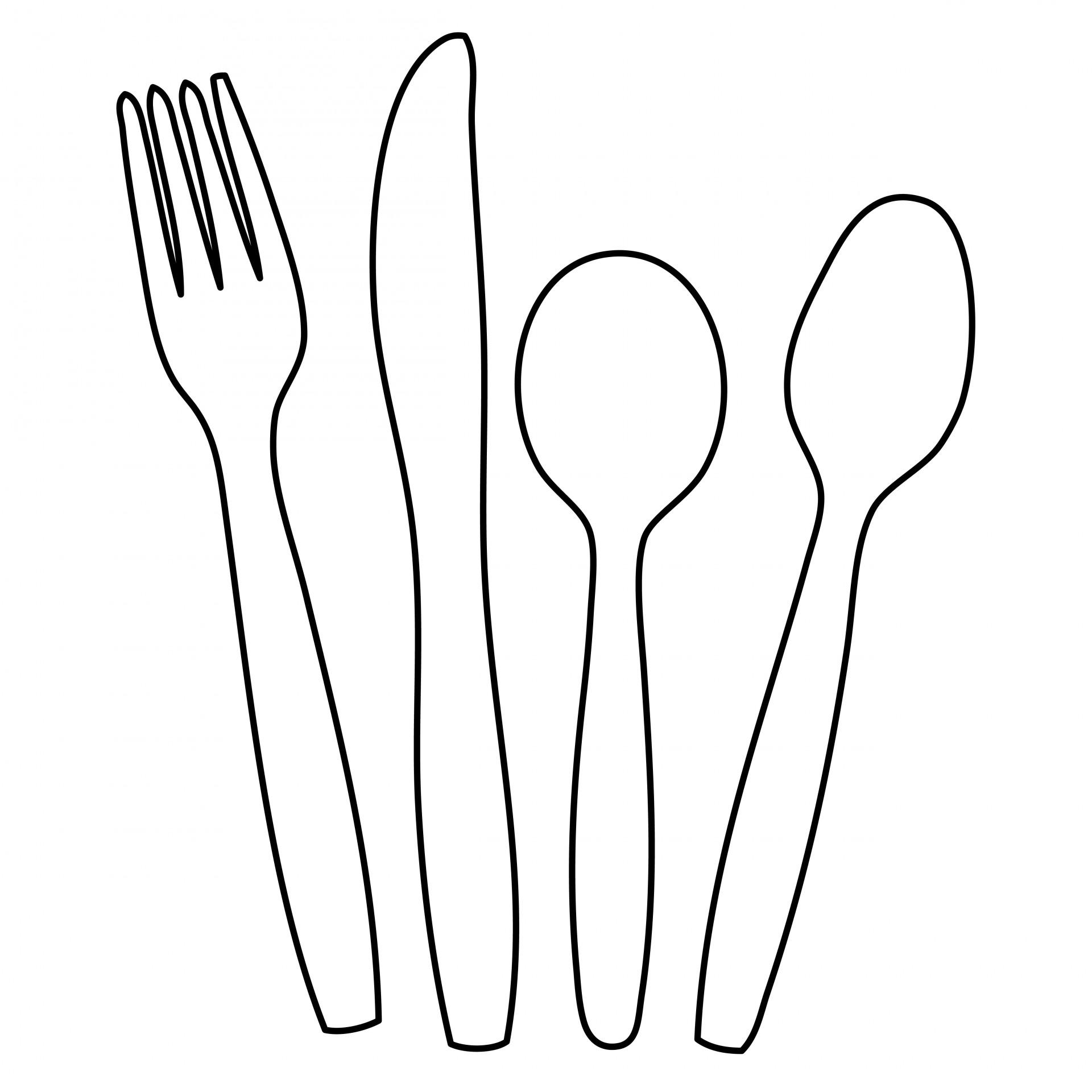 Cutlery,knife,fork,spoon,outline.