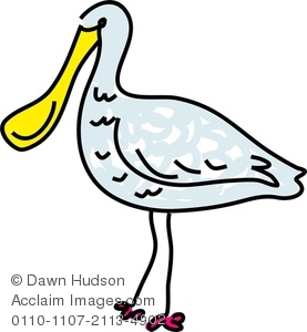 Clipart Image of A Whimsical Drawing Of A Spoonbill Bird.