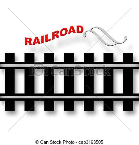 Stock Illustraties van spoorweg, embleem, met, Rails, symbool, op.