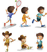Clipart of Kids engaging in different sports activities k16320791.