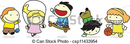 Clipart Vector of happy children activity with sports and games.