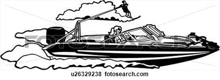 Ski Boat Graphic Clipart.