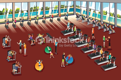 Scenes Inside A Fitness Center Vector Art.