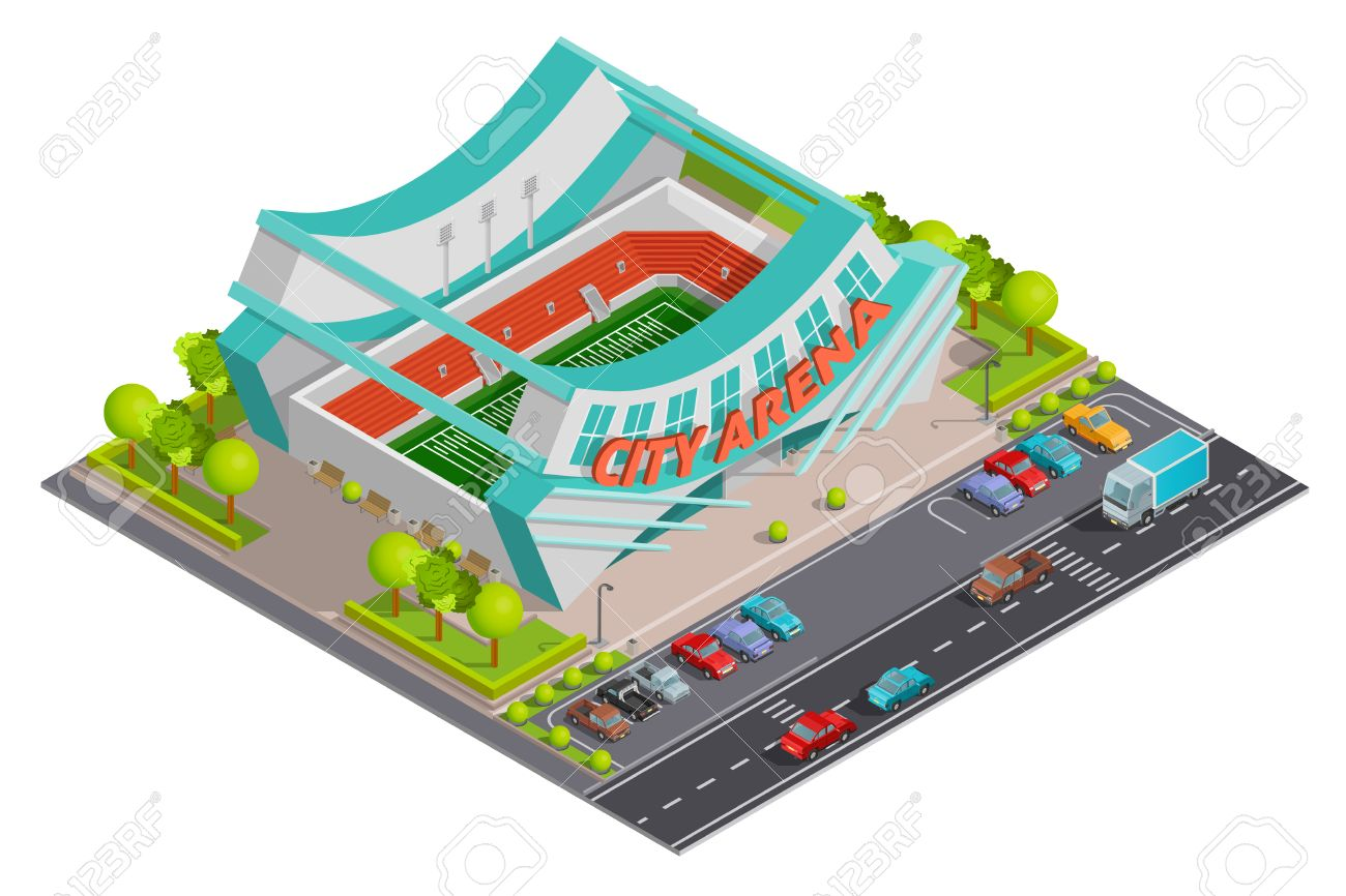 City Sport Center Arena Stadium With Parking Lot And Traffic.