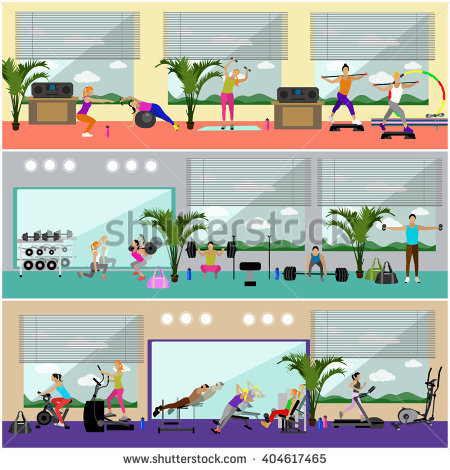 Fitness Center Interior Vector Illustration. People Work Out In.
