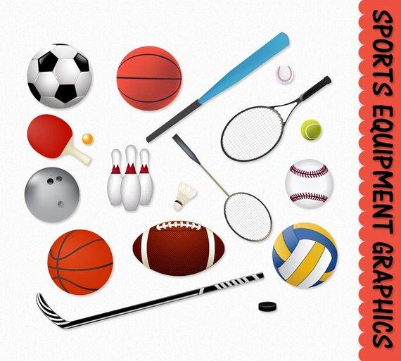 Sports Equipment Clip Art Clipart Graphic Scrapbook.