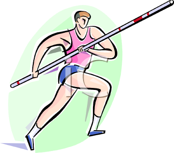 Royalty Free Clipart Image: Guy Pole Vaulting at a Track and Field.