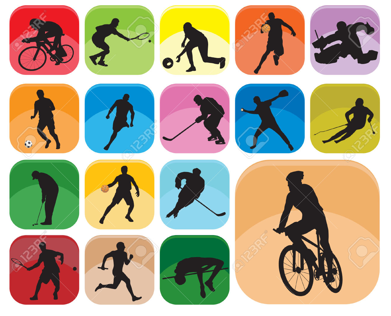 Sports Icons. Vector Illustration Royalty Free Cliparts, Vectors.