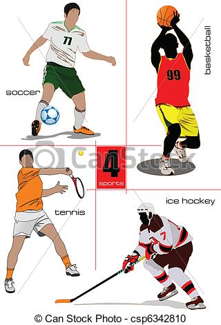 Vector Clipart of Four kinds of sport games. Footbal.