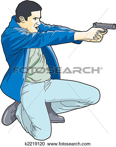 Clipart of Man Holding Gun k2219120.
