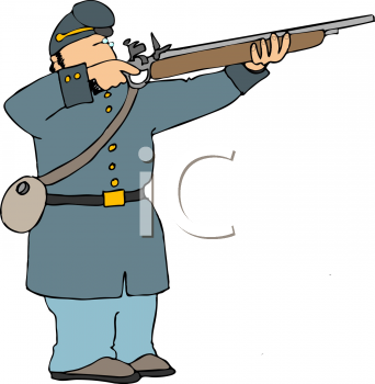 Clip Art Illustration of a Soldier Shooting a Rifle.
