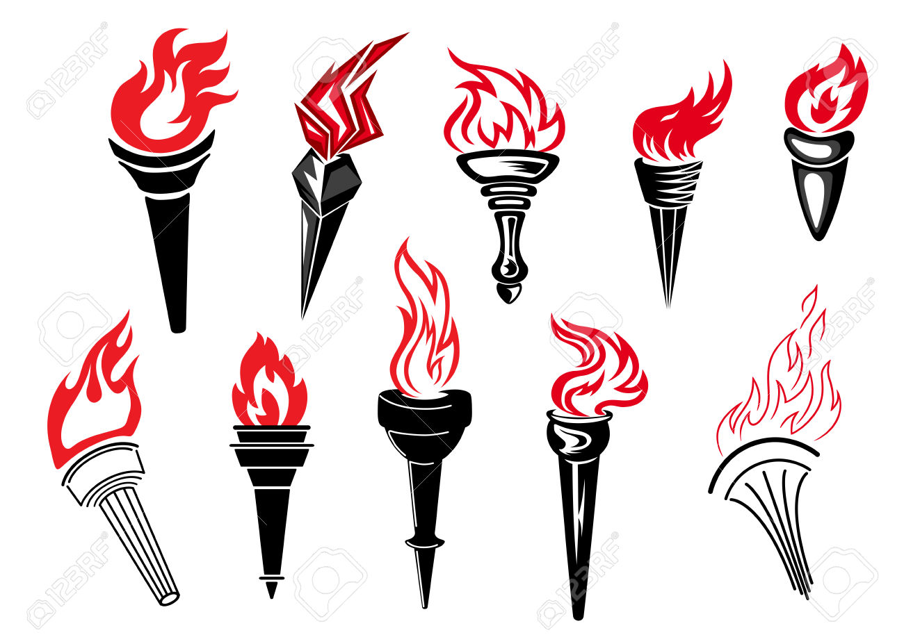 Flaming Torch Icons With Burning Flames For Sport And History.
