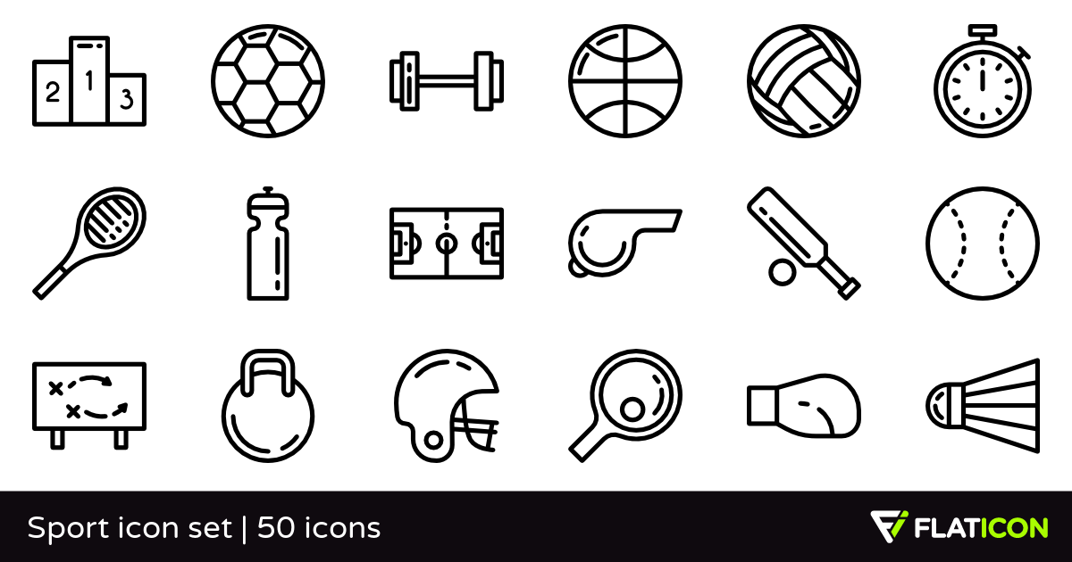 Sport icon set 50 free icons (SVG, EPS, PSD, PNG files).