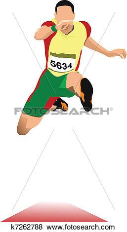 Clip Art of Man long jump. Sport. Track and fie k7262788.