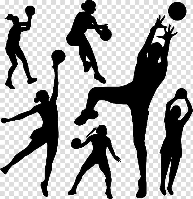 Silhouette of ball players, Sport Netball , Sport Background.