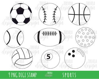 SPORTS clipart, sports balls, BLACK AND WHITE, soccer, basketball, golf.