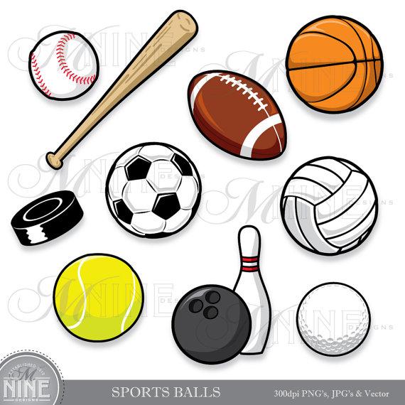 SPORTS BALLS Clip Art: Clipart Sport Ball Digital Clipart.