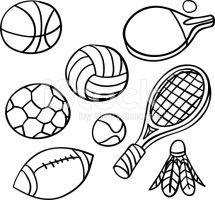 Sports Equipment Clipart Black And White.