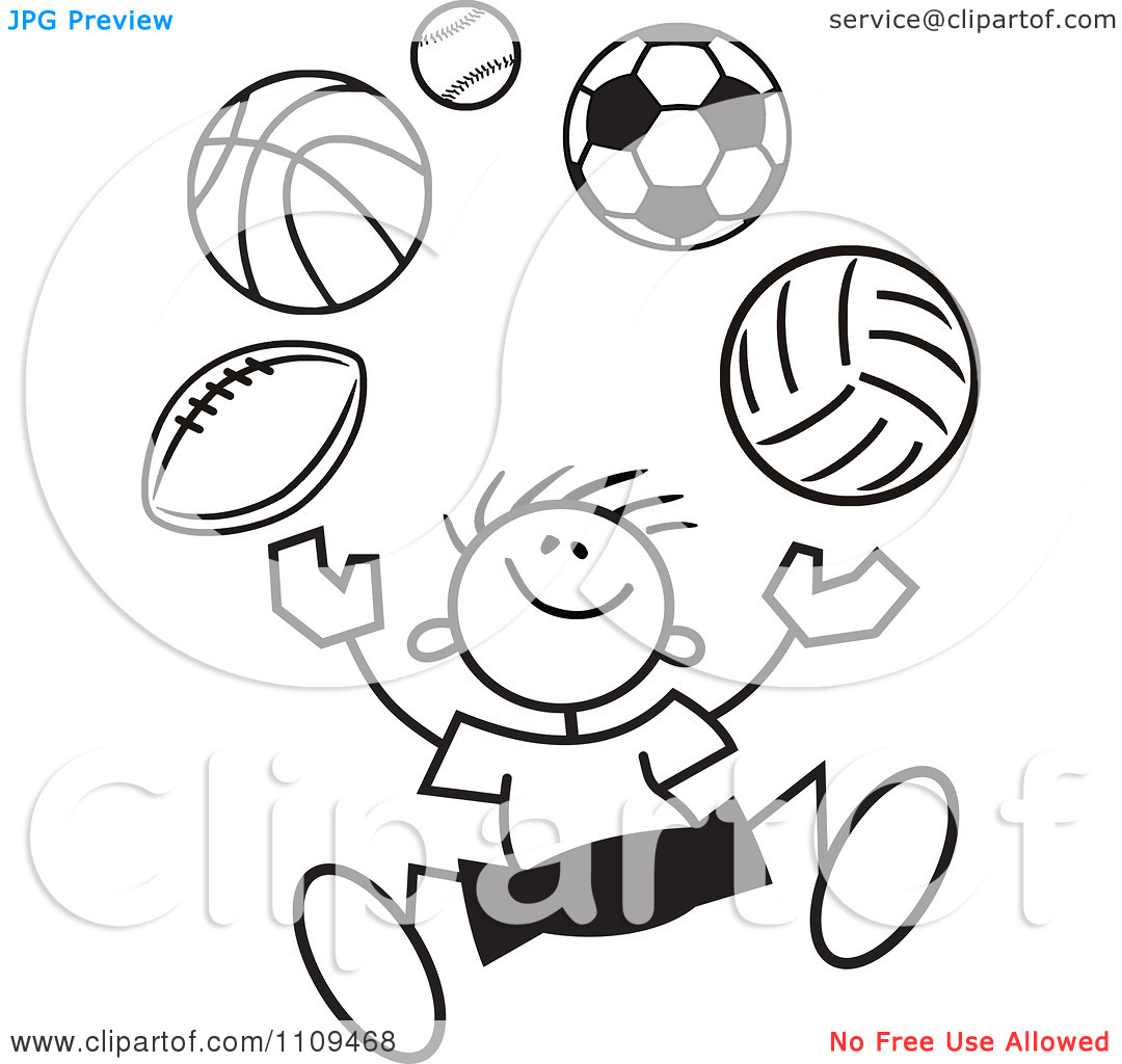 Clipart Sports Black And White.