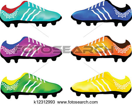Clipart of Vector Sport Football Boots k12312993.