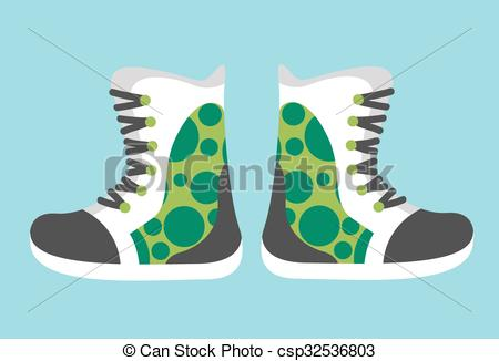 Vector Clipart of Snowboard sport clothes boots elements.