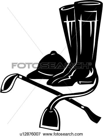 Clip Art of , rider, boots, crop, dressage, elements, english.