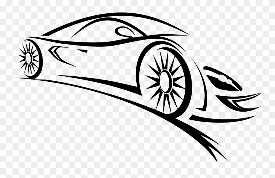Sports Car Clipart Black And White.
