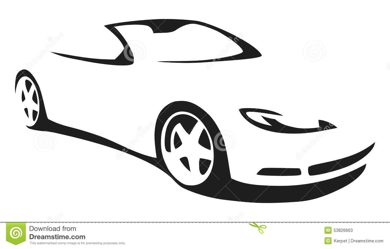 Sports Car Silhouette Clip Art.