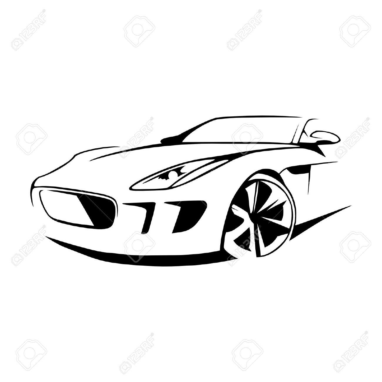Sports Car Silhouette Vector.