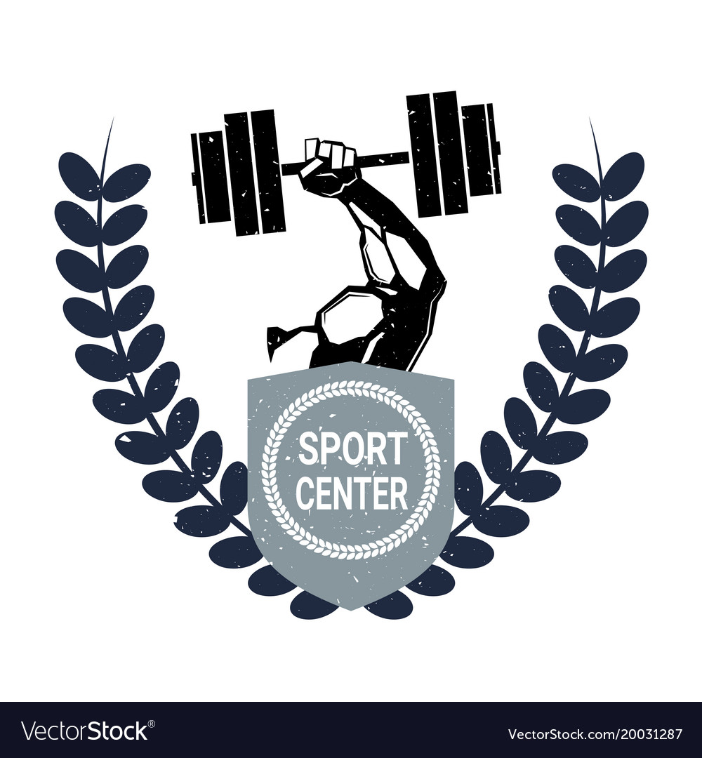 Sport center logo with male hand holding barbell.
