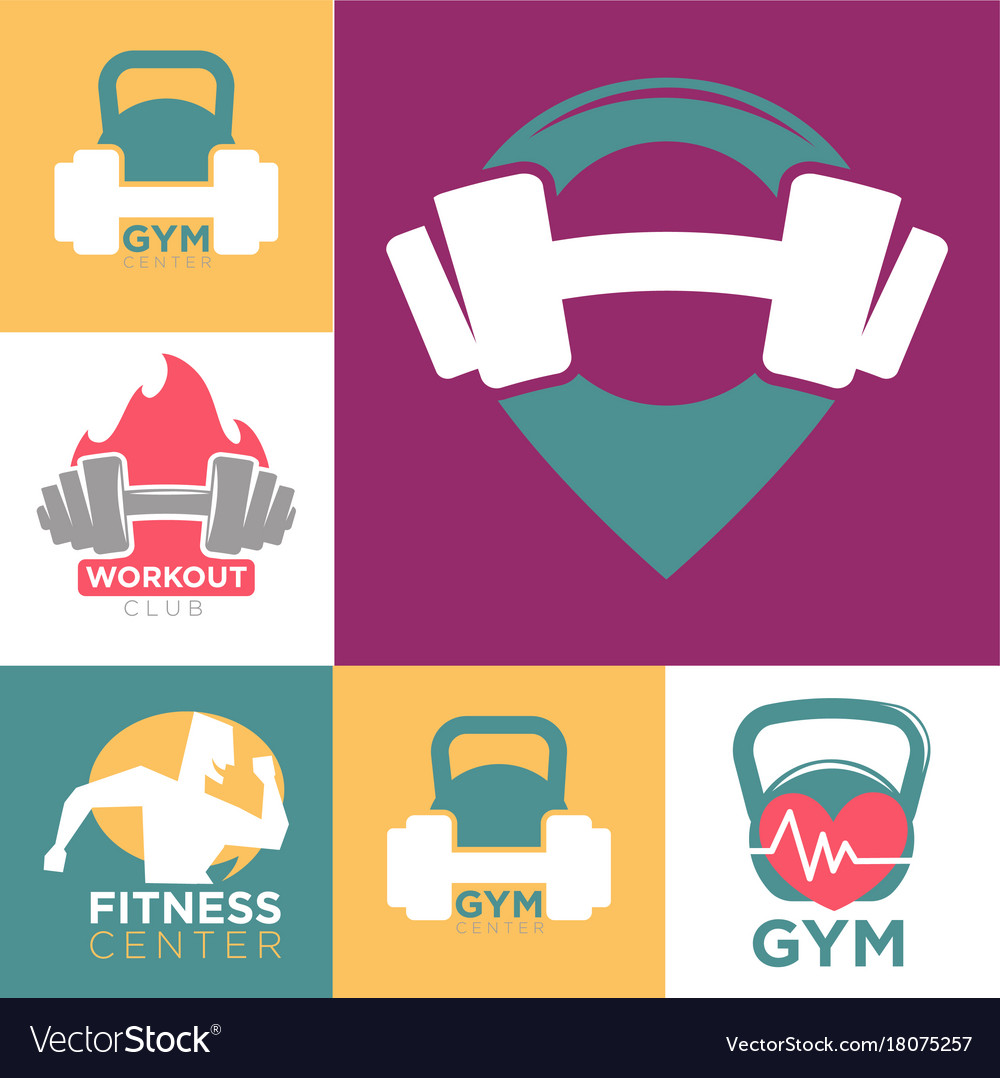 Gym and fitness club or workout sport center logo.