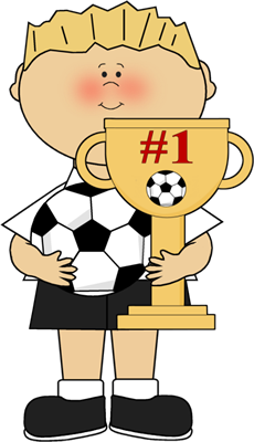 Boy with Soccer Trophy Clip Art.