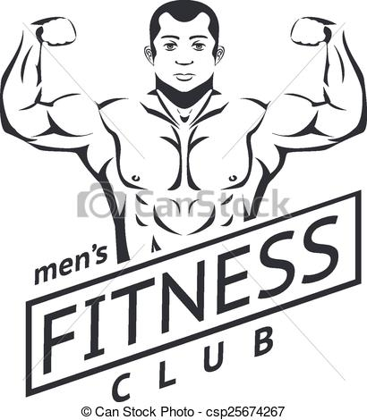 Clip Art Vector of Mens fitness logo for sport club. Muscles and.
