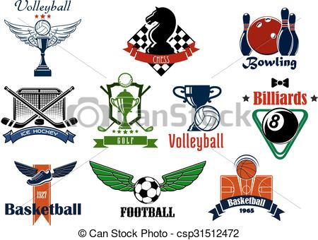 Vectors Illustration of Sports club or team emblems and icons for.