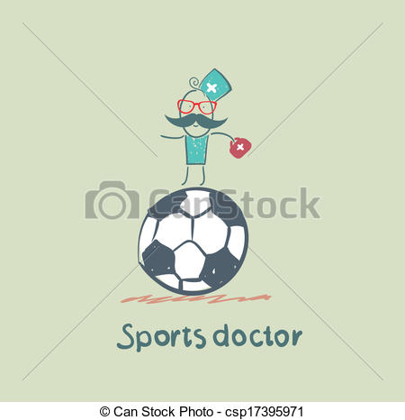 Vectors Illustration of Sports doctor sits on a huge soccer ball.
