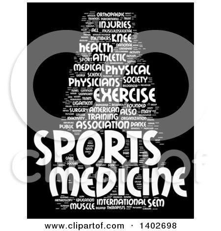 Clipart of a Sports Medicine Tag Word Collage on Black.