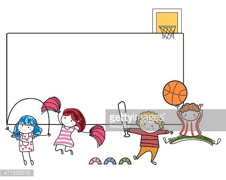 Sport kids and frame Clipart Image.