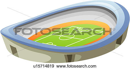 Stock Illustration of soccerfield, edifice, playingfield, stadiu.