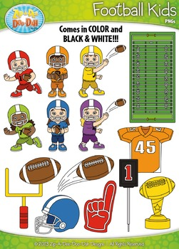 Football Sports Kid Characters Clipart {Zip.
