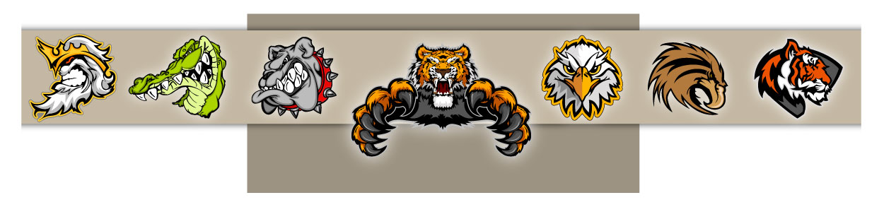 Clipart Mascots for Sports Teams and Schools in Vector Formats.