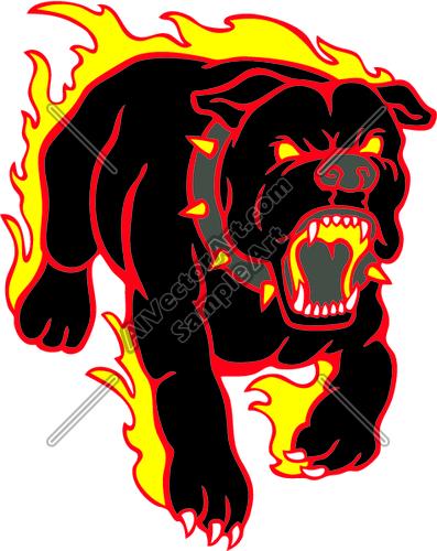 Flaming Bull Dog Mascot Clipart and Vectorart: Sports.