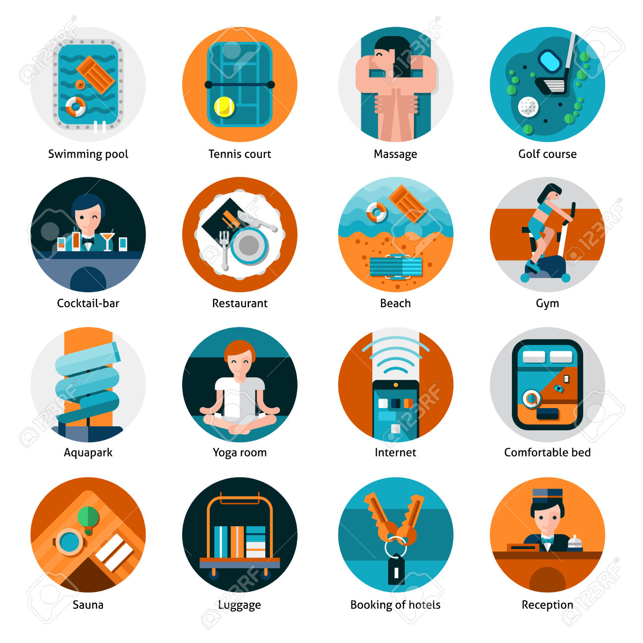 Hotel Offers And Facilities Round Icons Set With Sports Recreation.