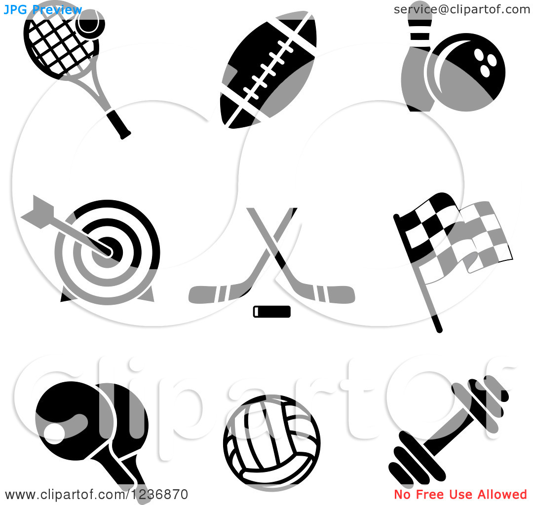Clipart of Black and White Sports and Recreation Icons.