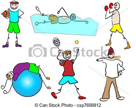 Vector Illustration of cartoon sport and recreation csp7656812.
