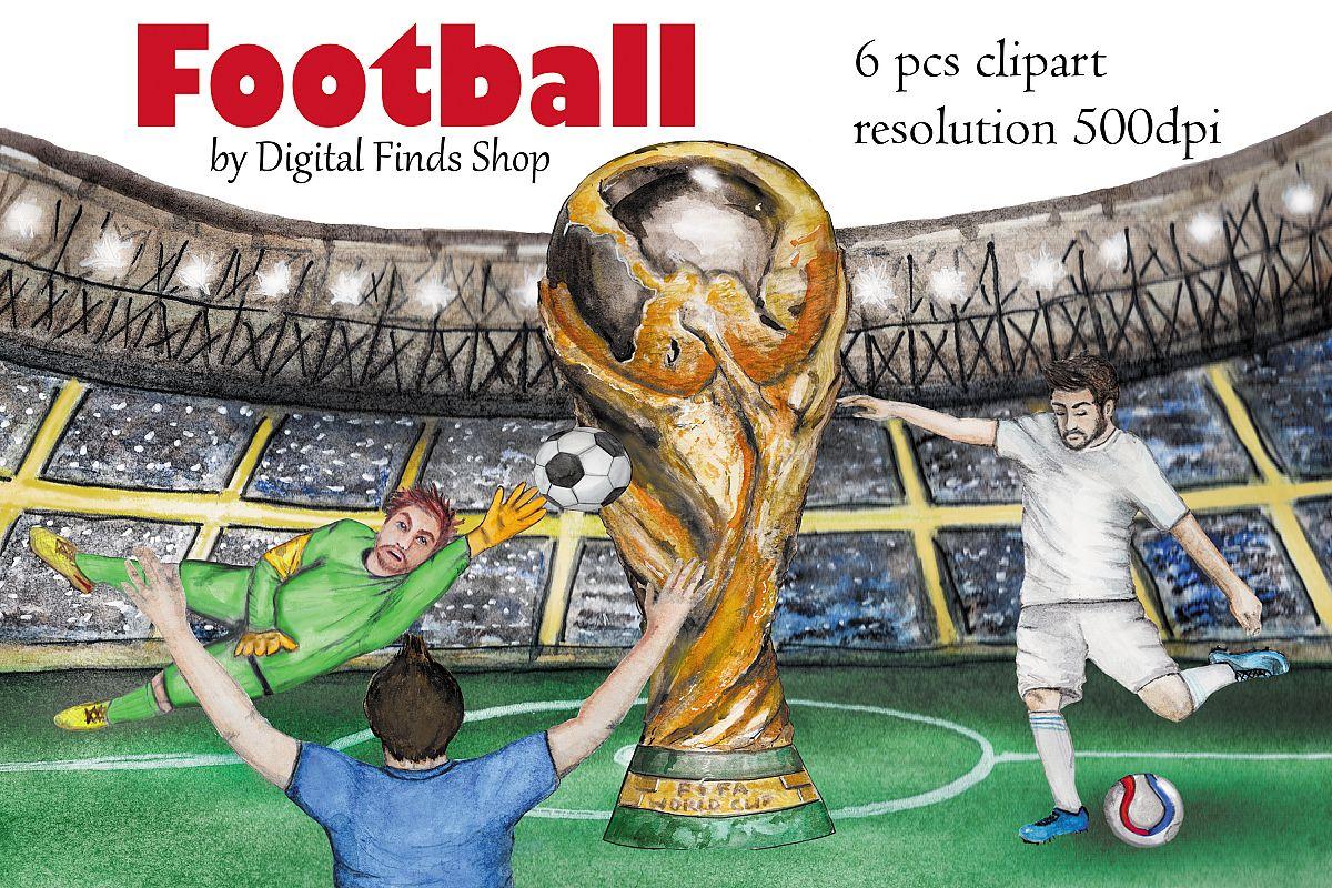 Football clipart, soccer clipart, sport watercolor clipart.