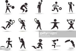 Sports Stick Figures stock vectors.