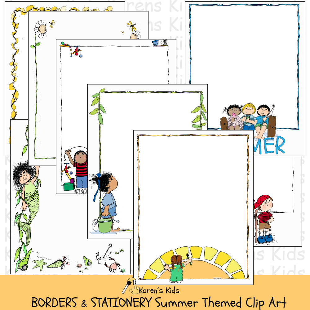BORDERS Summer Themed Borders Clip Art.